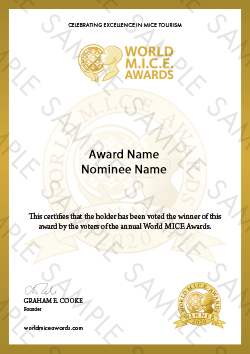 World MICE Awards winner certificate sample
